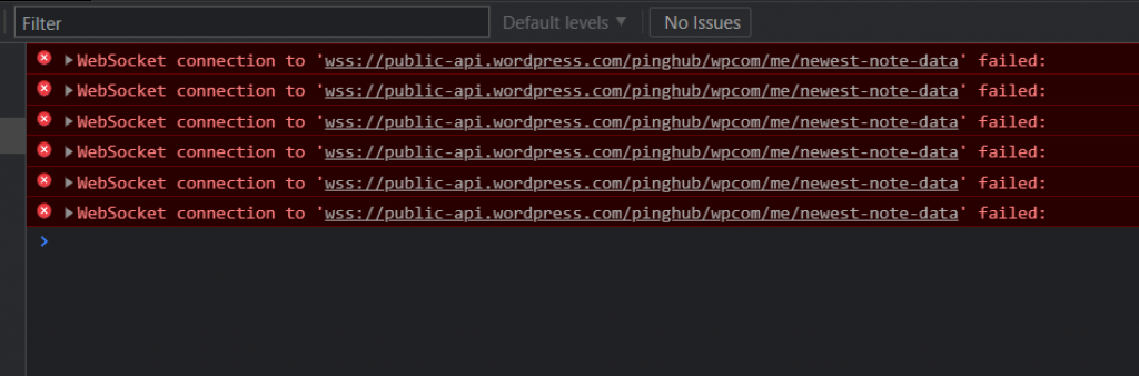 [FIXED] WebSocket connection to 'wss://public-api.wordpress.com/pinghub/wpcom/me