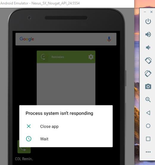 The System UI isn't responding error in Android Studio Emulator