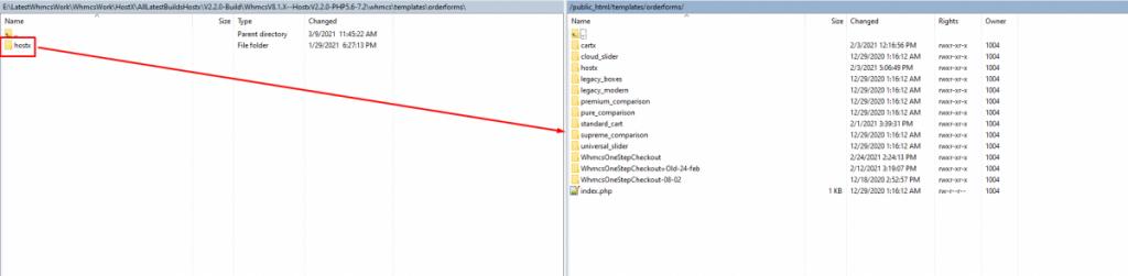 Upload HostX folder to WHMCS